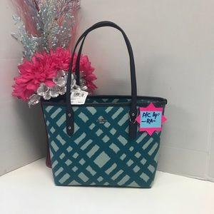 NEW Coach Wild Plaid City Zip Tote Handbag Purse